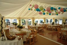 Marquee Hire Hampshire: We added 100 or so pastel coloured laterns with micro LED lights inside to make this wedding banquet really special !!!