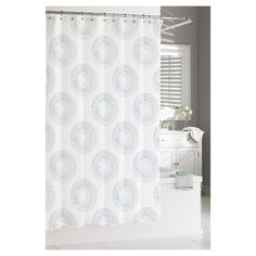 Modern Flower Shower Curtain, grey shower curtain, gray shower ...