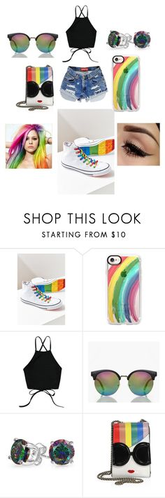 """Summer Loven#33(Rainbow)"" by taco-lambert ❤ liked on Polyvore featuring Converse, Casetify, Boohoo, Bling Jewelry, Levi's and Alice + Olivia"