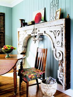 Love when people use something repurposed like this- so creative, makes a huge statement!  #mantle #antique #salvage #repurpose #reuse