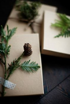Natural gift wrapping idea: Some braided jute twine, pine twigs, brown kraft paper and some washi tape. Gorgeous.