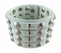 Zeckos Gray Leather 4 Row Cone Spiked Wristband Wrist Band for sale online Chains For Men, Bracelets For Men, Bangle Bracelets, Beard Growth Kit, Beard Grooming Kits, Turquoise Cuff, Adjustable Bracelet, Bracelet Sizes