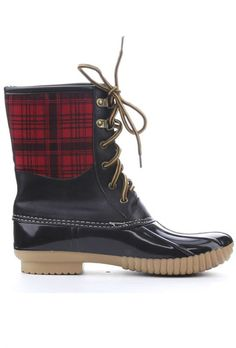 Muriel Plaid Accent Duck Boots - Black + Red