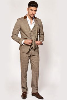 Mens 3 Piece Marc Darcy Slim Fit Vintage Tan Tweed Inspired Check with  Elbow Pads Casual Business Wedding Suit Formal Blazer Waistcoat and  Trousers ... 1f829624a9e6