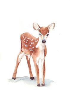 Deer Watercolor Painting - print of watercolor painting animal art