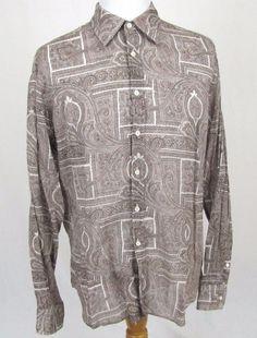 PRADA Dress Shirt 17 1/2 XL Runway Floral Paisley Brown Slim Trim Cotton $595 #PRADA