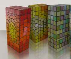 Mosaics made with bricks? I can think of many ways to use these. Have to make some.