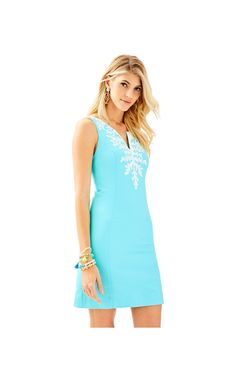 f43861fd26ccd6 Gabby Shift in Seasalt Blue Dress Bra, Sea Salt, Lilly Pulitzer, Special  Occasion