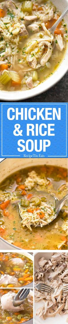 Homemade chicken and rice soup, on the table in 1 hour (and that includes 30 minutes of doing nothing...!)