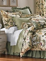 Garden Images Comforter Set, Decorative Pillows & Window Panels by Williamsburg® | LinenSource.  This is the look that I go for.  A set with matching floral and stripe patterns and matching window treatments.  This is reduced and still expensive, but you can recreate it with less expensive bedding.  Pick a style and go for it!  You will be so pleased when you pull it together.  Love, love love!