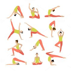 Vector yoga illustration. Yoga set. by OS on @creativework247