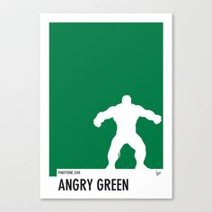 I want this! My Superhero 01 Angry Green Minimal Pantone poster Stretched Canvas by Chungkong - $85.00
