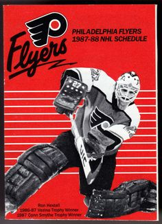 1987-88 PHILADELPHIA FLYERS BUDWEISER HOCKEY POCKET SCHEDULE RON HEXTALL COVER #PocketSchedules