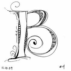 Hand lettering alphabet letter B Doodle Lettering, Creative Lettering, Lettering Styles, Calligraphy Letters, Typography Letters, Caligraphy, Doodles Zentangles, Zentangle Patterns, Doodle Drawings