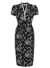 SUZANNAH Tie Front Tea Dress Navy Budding Heart Floral