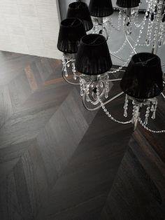 Wenge parquet flooring. Top Floor UK ltd. Chelsea Harbour. Nasty chandelier