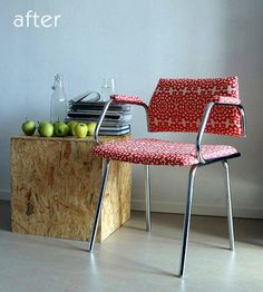 Beautiful Metal Chair After it's Makeover.  From Design Sponge