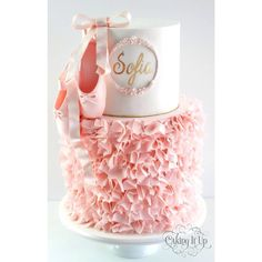 Ballet Love Soft ruffles on bottom tier to resemble a pretty ballet tutu and adorned with a gorgeous pair of fondant ballet pointe shoes. Ballerina Birthday Parties, Ballerina Party, Girl Birthday, Ballerina Pink, Happy Birthday, Ballet Cakes, Ballerina Cakes, Ballerina Slippers, Ballet Tutu
