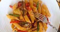 Penne Rigate with Mushrooms, Peppers, Asparagus and Marinated Artichoke