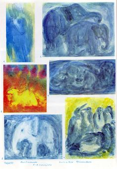 Taf. 51: Tierkunde 17 in Pflanzenfarben 03 (5.-8. Schuljahr) 1. Reh? in Blau  2. Elefanten in Blau auf blauem Boden mit blauem Hintergrund (in Pflanzenfarben)  3. Kamel in Gelb in einer roten Landschaft mit spitzen Bergen in Weinrot Mitte rechts: 4. Nilpferde in Blau (in Pflanzenfarben) unten links: 5. Elefantenbaby in Weiss auf blauem Boden mit blauem Hintergrund (in Pflanzenfarben) unten rechts: 6. Pinguine in Blau-Weiss auf blau-grünem Boden mit gelbem Hintergrund (in Pflanzenfarben)