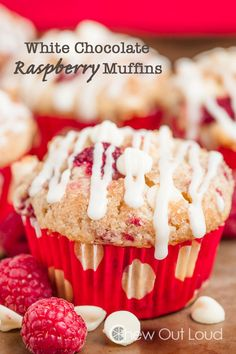 White Chocolate Raspberry Muffins - Better than bakery.  Slightly crisp edges, super moist throughout, and full of fresh raspberries.  Scrumpdelicious. #breakfast #brunch #recipe
