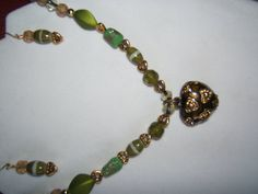 Olive Green Heart Necklace and Earring Set