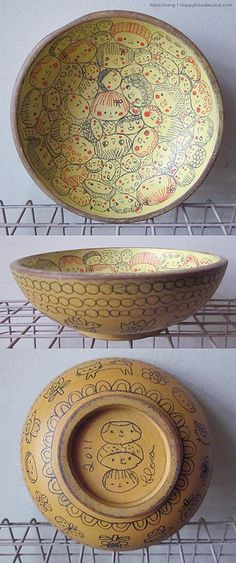 Happy Faces bowl in yellow: Flora Chang--Happy Doodle Land blog.  Vintage wooden bowls.