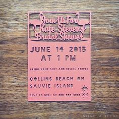 Flamingo Beach Party Bridal Shower Invite Custom Cut Wedding Invites Alley M Design #pdx #vanwa #lasercut