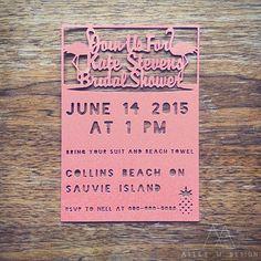 Flamingo Beach Party Bridal Shower Invite Custom Cut Wedding Invites Alley M Design #pdx #vanwa #lasercut