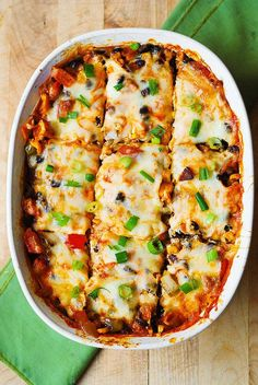 Black Bean and Butternut Squash Enchilada Casserole