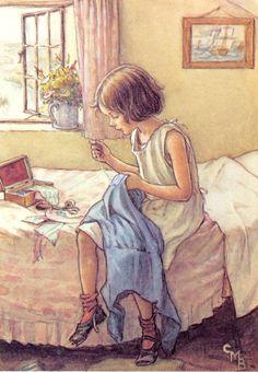 Cicely Mary Barker, Images Vintage, Vintage Pictures, Vintage Cards, Sewing Art, Flower Fairies, Children's Book Illustration, Book Illustrations, Vintage Children