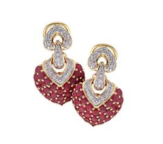Ruby Heart 18ct yellow gold ruby and diamond earrings D141504