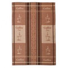 Hnedá bavlnená utierka na riad s kávovým vzorom - domtextilu. Coffee Time, Coffee Break