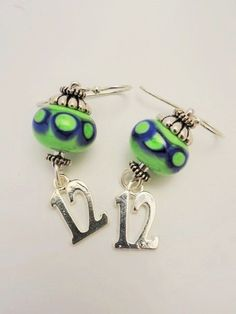 12th Man Earrings Seahawks Earrings  by emeraldcityartglass, $22.00