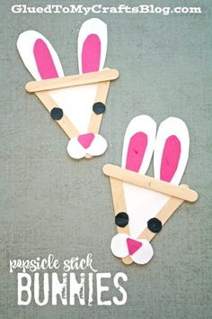 Adorable Popsicle Stick Bunny! An easy craft for kindergarten or preschool kids this spring or Easter! #bunnycrafts #springcrafts #Eastercrafts