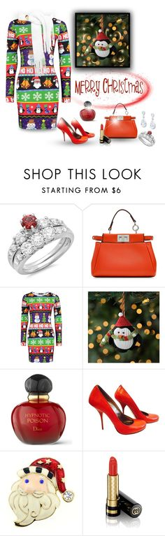 """""""Christmas outfit✨¸¸.•*¨*•¸¸.•*¨*•"""" by califorina-girl ❤ liked on Polyvore featuring Fendi, Boohoo, Christian Dior, Gianmarco Lorenzi and Gucci"""