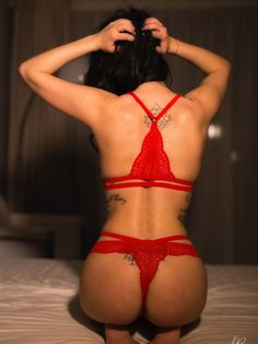 Red Desire Bralette set  Red Italian lace with harness