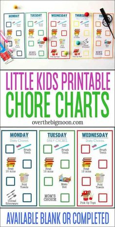 Teach your little ones how to start doing jobs independently with these simplified chore charts. Chore Chart For Toddlers, Printable Activities For Kids, Charts For Kids, Learning Activities, Chore Chart Toddler, Free Printables, Preschool Ideas, Toddler Activities, Summer Crafts For Kids