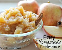 Quick and easy homemade applesauce! My kids LOVE this (tastes so fresh and much better than canned applesauce!). SixSistersStuff.com #applesauce #recipe