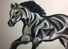Excited to share the latest addition to my shop: Abstract Horse - Quilling Wall Art Painting - paper strips Peacock Quilling, Arte Quilling, Paper Quilling, Quilling Patterns, Quilling Designs, Quilling Ideas, Quilling Christmas, Christmas Trees, Art Deco Bedroom