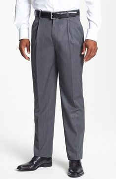 Men's JB Britches Double Pleated Super 100s Worsted Wool Trousers