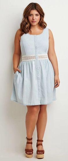 So cute!  Plus Size Crochet-Paneled Chambray Dress
