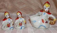 Vintage 1940s Antique Hull Little Red Riding Hood 4 piece Set: Wall Pocket, Creamer, & small Salt and Pepper Shakers