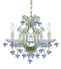 View the Crystorama Lighting Group 4474-BLUE Paris Flea Market 4 Light Chandelier at LightingDirect.com.