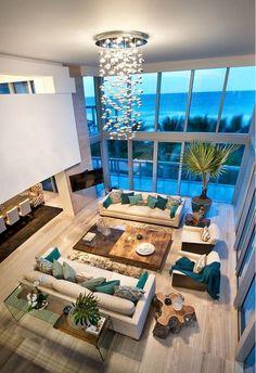 Interior Design Lesson: Chic Miami Decor - New Deko Sites Dream Home Design, Modern House Design, Modern Interior Design, Interior Architecture, Design Interiors, Blue Interiors, Interior Colors, Interior Design Living Room, Living Room Designs