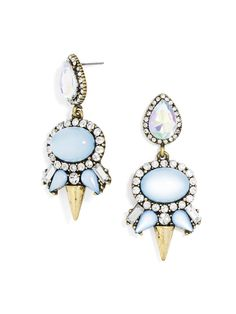 These gem cluster drops feature cloudy blue stones and gold spikes in a slightly futuristic silhouette, but an overdose of pave crystals makes the look undeniably glam.