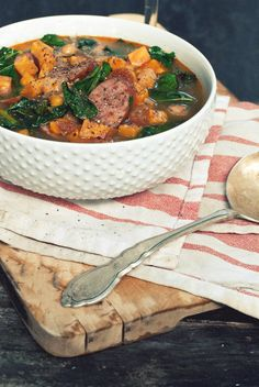 15-Minute Spicy Sausage, Kale and Sweet Potato Soup