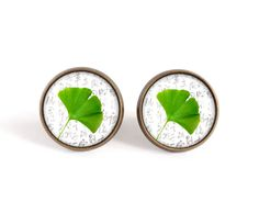 Ginkgo biloba stud earrings, leaf image cabochon post earrings, good fortune picture earrings, good luck jewelry, glass dome, gift for women