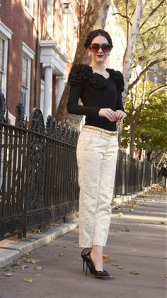 White lace pattern pants black heels black shirt