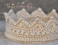 Gold Baby Crochet Crown Baby Accessories by YeyasCrochetShop